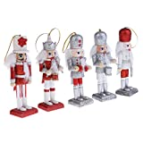 Dovewill 5Pcs Per Set Christmas Decorations Nutcrackers Wooden Drummers Soldier Puppets 12cm Wood Novelty Decorative Ornaments Home Decor Kids Birthday Gifts