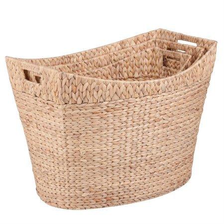 Tall Water Hyacinth Banana Leaf Baskets - 3-Pack, Large baskets, Baskets for storage, Wicker basket, Shelf baskets, Decorative Hampers.