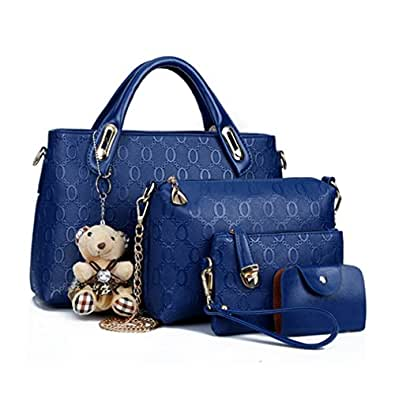 Famous Brand Women Bag Brand 2017 Fashion Women Messenger Bags Handbags Set PU Leather Female Bag 4 piece Set (blue)