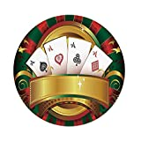 Polyester Round Tablecloth,Poker Tournament,Gambling Fortune Wealth Playing Cards Hand Casino Roulette Winning Print Decorative,Multicolor,Dining Room Kitchen Picnic Table Cloth Cover,for Outdoor Ind