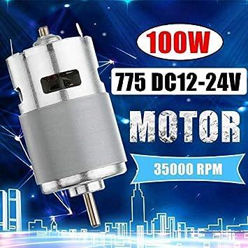 NO LOGO WJN-Motor, 1PC 775 DC Motor DC 12V-24V MAX 35000 RPM cojinete de Bolas Grande de par de Alta Potencia de bajo Ruido del Motor de Engranajes Motor electrónico Componente (tamaño : AS Show)
