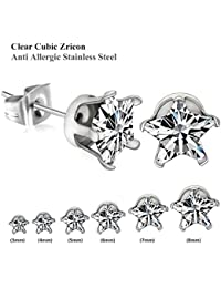 Hot Sale Fashion 3mm to 8mm Stud Earrings with Shinny Rhinestones for Womens and Girls