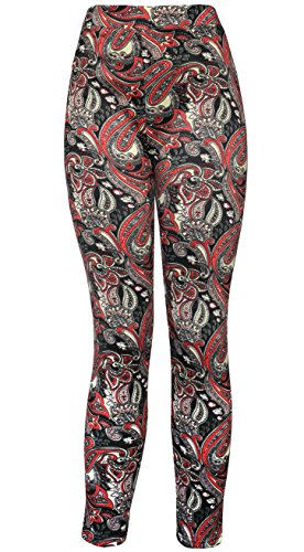 KMystic Women's Winter Plush Lined Thick Winter Leggings (Large/XLarge, Red Paisley) Red Large Paisley