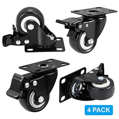 "BOSGEOT 2"" Caster Wheels, Heavy Duty Casters with Brake Set of 4, Locking Casters with 360 Degree No Noise Polyurethane (PU) Wheels, Swivel Plate Castors Pack of 4"