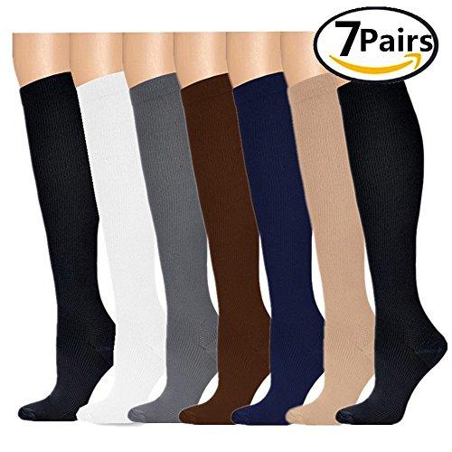 Compression Socks,(7pair) for Women & Men - Best For Running, Athletic Sports, Crossfit, Flight Travel - Suits Nurses, Maternity Pregnancy, Shin Splints - Below Knee High(Assorted 1-S)