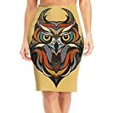 Stained Glass Style Owl Women's Fashion Printed Pencil Skirt