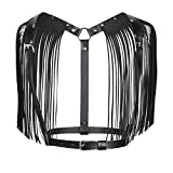 ZAKIA Women Sexy Leather Body Chest Harness Adjustable Belt with Shoulder Tassels (Black)