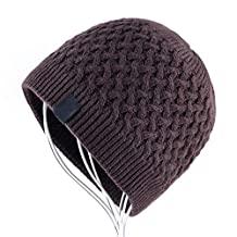 MJ-Young Men's Thick Cable Knit Beanie Fleece Lined Cuff Skull Cap Winter Hats