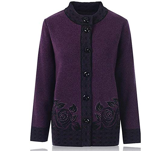 Roohb Female Autumn Winter Bottoming Middle-Aged Sweater Mother Coat Dark Purple L