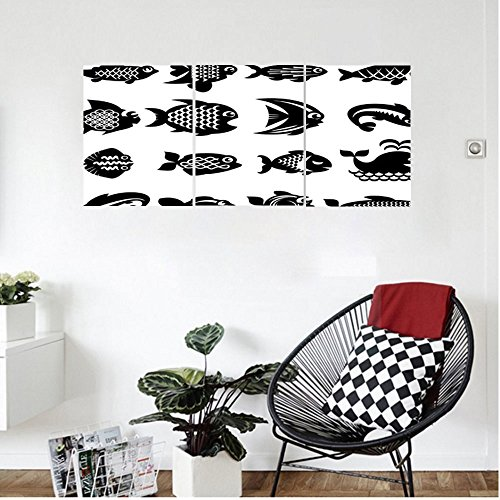 Liguo88 Custom canvas Animal Various Type of Fish Icons Angelfish Butterflyfish Anemonefish Aquatic Fauna Image Wall Hanging for Bedroom Living Room Black White