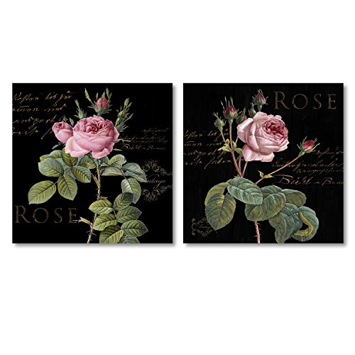 Decor MI 2 Piece Red Roes Flowers on Canvas Wall Art Rose Decor Prints Paintings Modern Artwork Decoration Ready to Hang 2 pcs(12x12inch ()