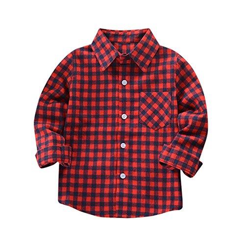 09b40a30d Venta caliente 2018 MYQyiyi Bebé Niños Camisa de Cuadros de Manga Larga  Casual (Rojo,