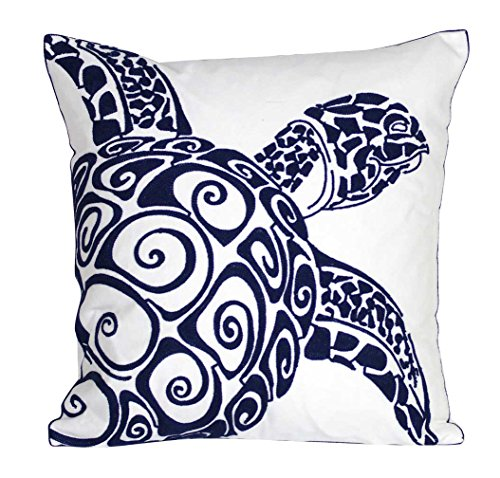 DECOPOW Embroidered Cute Nautical Animal Pillow Covers,Square 18 inch Decorative Canvas Pillow Cover for Nautical Style Deco by (Navy-Sea -