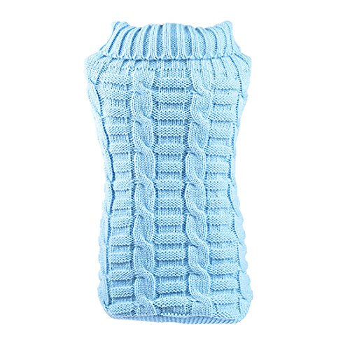uxcell Elastic Soft Dog Sweater Cable Knit Pet Clothes, Light Blue, S