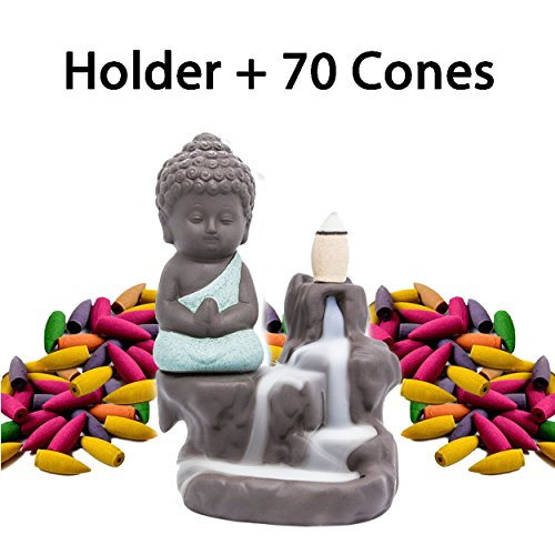 Incense Burner Backflow Set Mixed Aromatherapy Tower Cones Sticks Holder Ceramic Waterfall Buddha Monk Ash Catcher -IN007 Green (70 Variety Cones& Holder)
