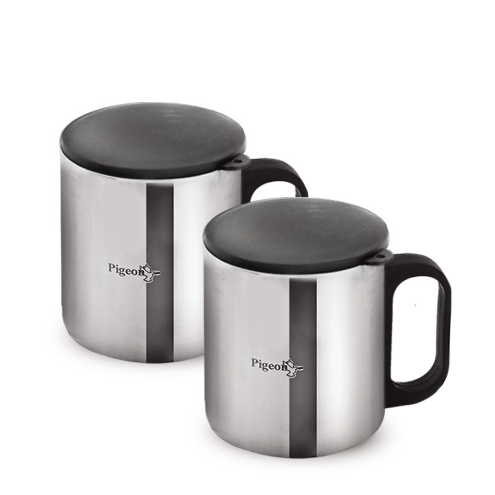 Pigeon Stainless Steel Double Coffee Mug, set of 2, 180ml, Silver-15% OFF