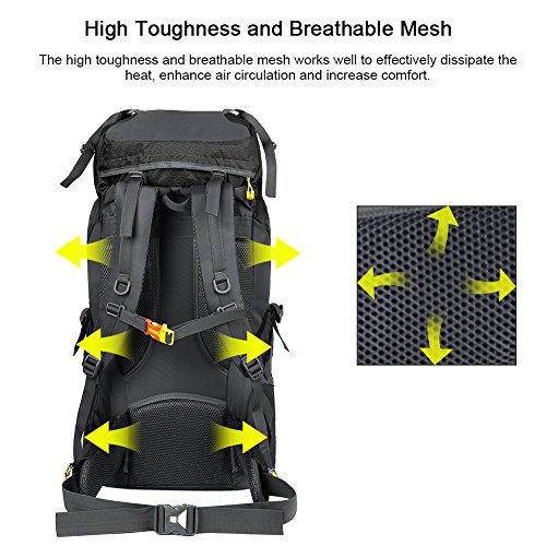 Vbiger 60L Outdoor Backpack Waterproof Backpacking Pack Travel Daypack for Climbing, Hiking, Trekking, Mountaineering, with Rain Cover (Black) by VBIGER (Image #6)