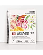OAT ART STUDIO Watercolor Paper Pad, Heavyweight Hot Press and Micro-Perforated, Side Wire Bound, 140 Pound, 9 x 12 Inch, True to Size, 20 Sheets