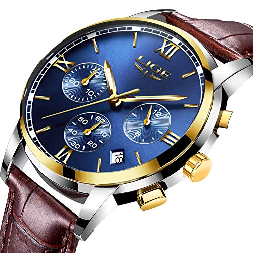 Mens Watches Leahter Analog Quartz Watch Men Date Business Dress Wristwatch Men's Waterproof Sport Clock