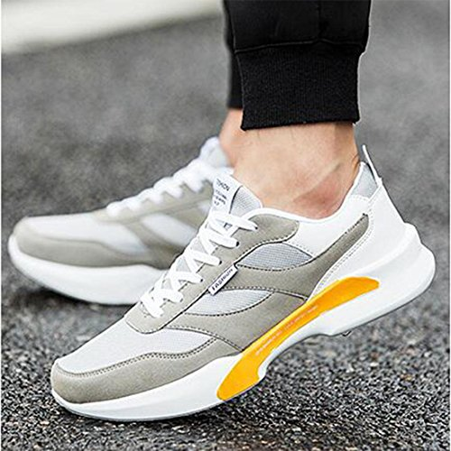 Spring men 's sports breathable flying shoes mesh breathable running shoes grey white RQhWU