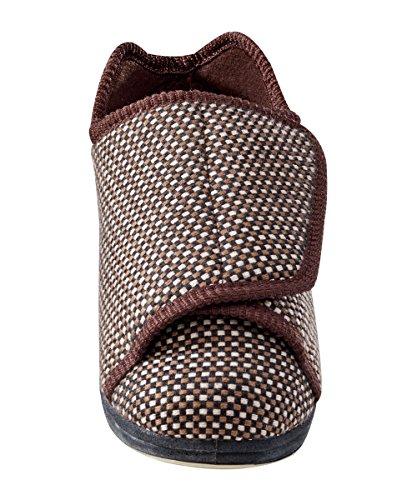 Mens Extra Extra Larghe Pantofole Con Le Chiusure Regolabili - I Piedi Gonfi - Diabetico E Ledema In Tartan Beige