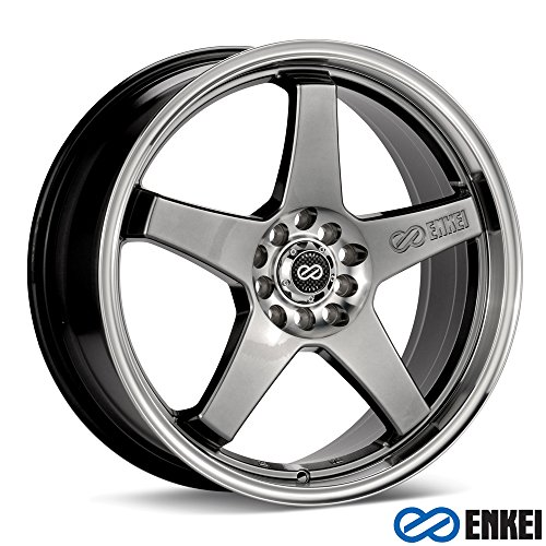 17x7 Enkei EV5 (Hyper Black w/ Machined Lip) Wheels/Rims 5x100/114.3 (446-770-0238HB) (Wheels Enkei)