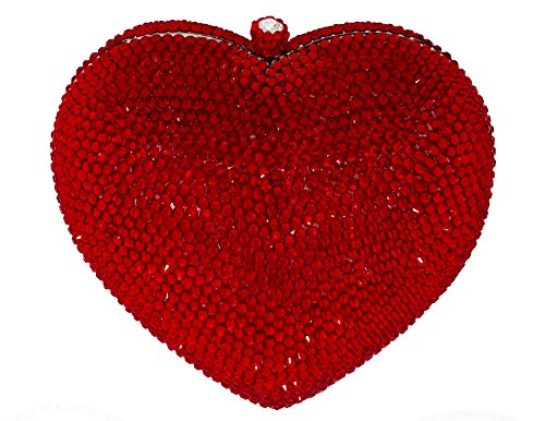 3D Heart Shaped Crystal Bridal Clutch Formal Party Evening Bag Pave Minaudiere Compact Mirror Gift Set Crimson Red by Celebrating You Shop