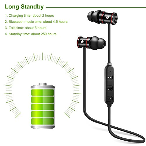 Bluetooth Sport Headphones, LESHP Wireless Sweatproof Rechargeble Sports Running Headphones with Mic (Bluetooth 4.1, Magnetic Secure Ear Fit Design with 8mm Speaker Length 250 hours standby time)