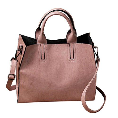 "Crossbody Shoulder Bag,AfterSo Solid PU Leather Messenger Bags Satchel for Women Girls (32cm/12.59"" L x 11cm/4.33"" W x 25cm/9.84"" H, Pink - Solid PU Leather Messenger Bags)"