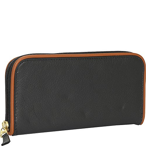 j-p-ourse-cie-roomy-zip-clutch-wallet-black-tan
