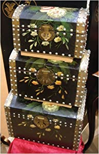 Amazon.com: Hand painted floral design wooden trunks