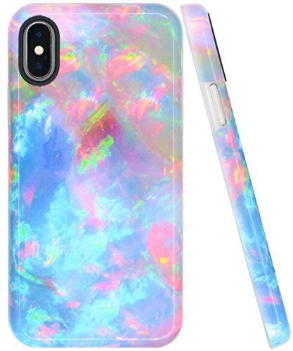 iPhone X Case, Marble Stone Pattern Rainbow Design, JNSA Glossy Pretty Creative Rainbow Marble Pattern Style Full Print Smooth Durable IMD Soft TPU Cover Shell for iPhoneX iPhone XS, Multicolor