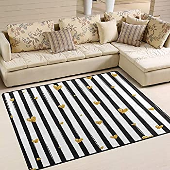 Alaza black and white striped gold glitter - Gold rugs for living room ...