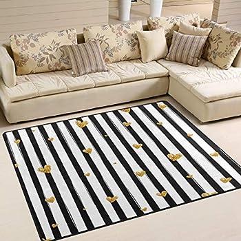 Alaza black and white striped gold glitter - Gold rug for living room ...