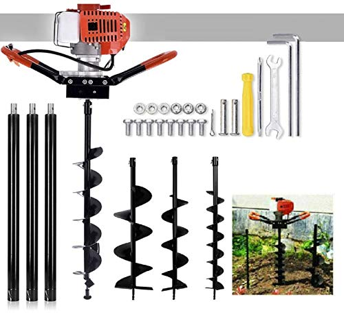 """72cc Post Hole Digger Auger Petrol Drill Bit Earth Borer with 3 Bits 3 Extension Rods (4"""" & 8"""" & 12"""") Ultra Sharp Blades (72CC-)"""