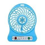 Portable Fan ,Mini Desk Portable Rechargeable LED Light Fan Air Cooler Mini Desk USB 18650 Battery Fan (Blue)