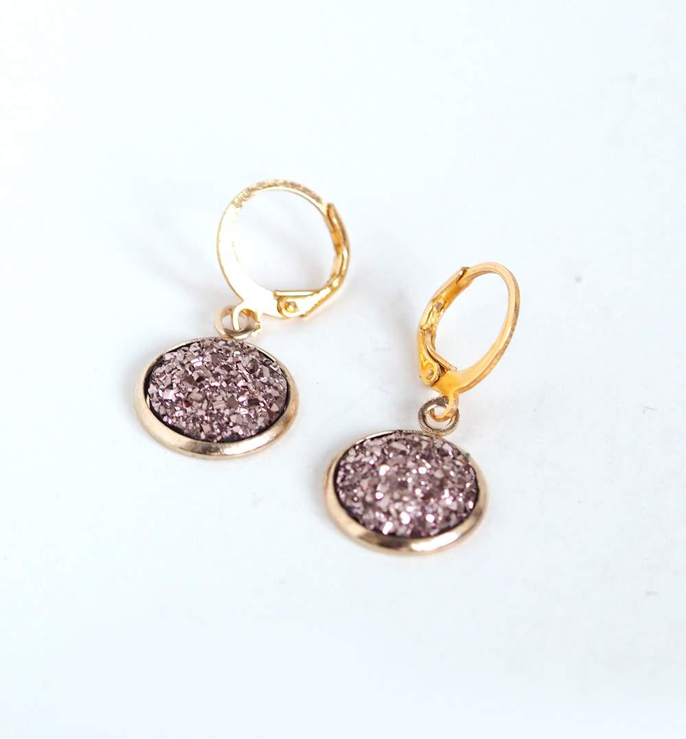 pendientes de cabuj/ón oro rosa brillante 3D acabado en oro de fantas/ía
