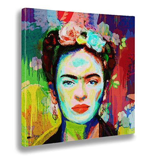 Giallobus - Cuadro ya Enmarcado - Impresion en Lienzo - Frida - Pinturas Modernas en Lienzo para decoracion casa diseno - salon - Varios Tamanos XXL - 100x100 cm