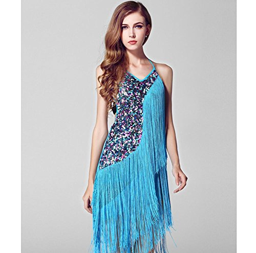 OOFAY Strap flow SU Liang Latin dance performance clothing dresses , blue , m (Lotus Lace Flow Womens)
