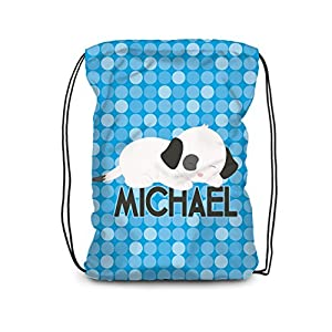 Puppy Dog Drawstring Backpack - Blue Puppy Personalized Name Bag
