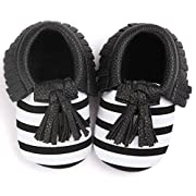 Voberry Infant Toddlers Baby Boys Girls Soft Soled Tassel Crib Shoes PU Moccasins (6~12 Month, Black stripe)