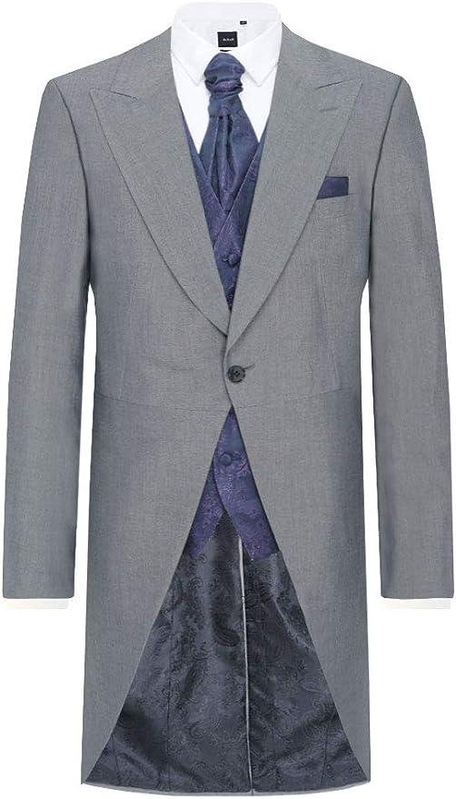Victorian Men's Tuxedo, Tailcoats, Formalwear Guide Dobell Mens Silver Grey Morning Wedding Tailcoat Regular Fit £129.99 AT vintagedancer.com