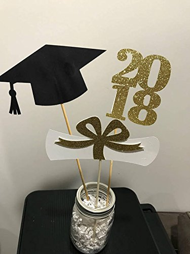 Graduation party decorations 2018 Graduation Centerpiece Sticks, Grad ,Cap ,Diploma , class of 2018, graduation decorations, prom 2018
