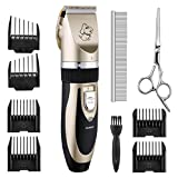 Patec Dogs and Cats Electric Clipper, Professional Pet Hair Shaver , Grooming Trimmer Kit, with Low Noise Low Vibration, Rechargeable Cordless Pet Fur Grooming Set with 6 Comb Guides,Extra scissors & Cleaning Brush