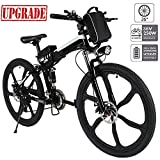 Aceshin Electric Mountain Bike, 26 inch Folding E-bike Citybike Roadbike with 26' Super Lightweight Magnesium Alloy 6 Spokes Integrated Wheel, Lithium-Ion Battery (36V 250W), and Shimano 21 Speed Gear