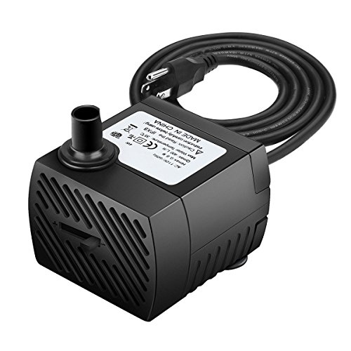 (Ideashop Submersible Pump, Water Pump, Water Fountain Pump 90 GPH(350L/H, 4W) Portable Water Pump Mini Water Pump for Pond, Statuary, Aquarium, Fish Tank Fountain with 5.9ft(1.8m) Power Cord (Black))