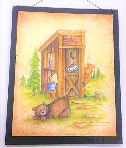 Amazon Com Still Waiting Moose Bear Outhouse Occupied Wood Country