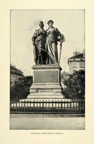 Monument Geneva Switzerland Statue Ladies Fence Buildings - Original Halftone Print (Switzerland Geneve Monument)