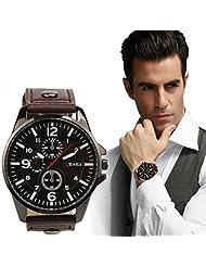 DaySeventh Men's 2016 Sports Quartz Watches Mens Watches Luxury Leather Wristwatches (Coffee)