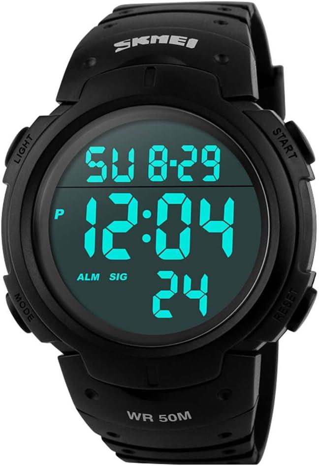 Reloj para Hombre, 1068 LED analógico Digital, multifunción, Resistente al Agua (Negro)